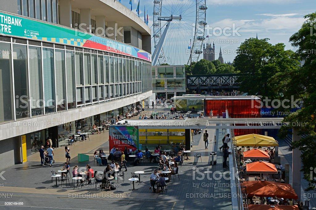 People enjoying South Bank of London, England stock photo