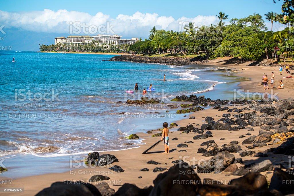 People enjoying the beach on Maui stock photo