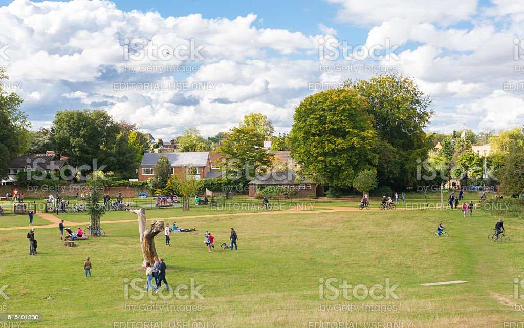 People enjoying the sunny day in Richmond park, London stock photo