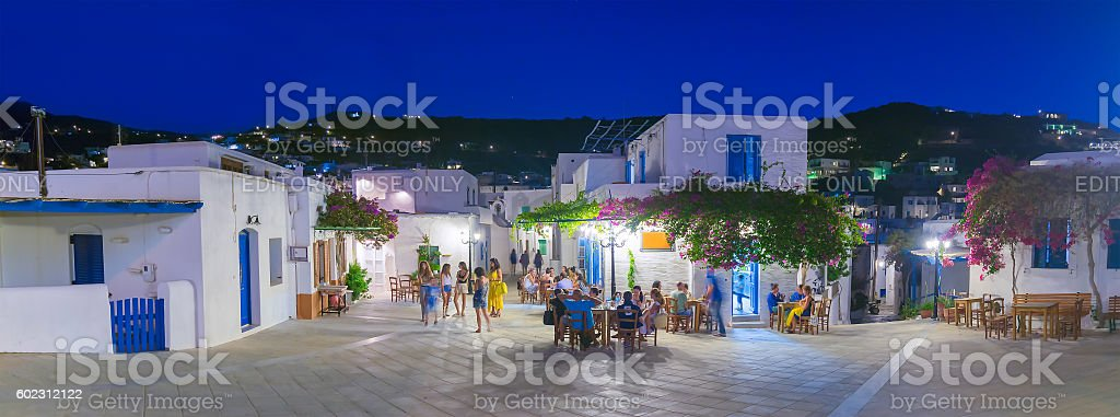 People enjoying their summer vacations at Lefkes village in Paros stock photo