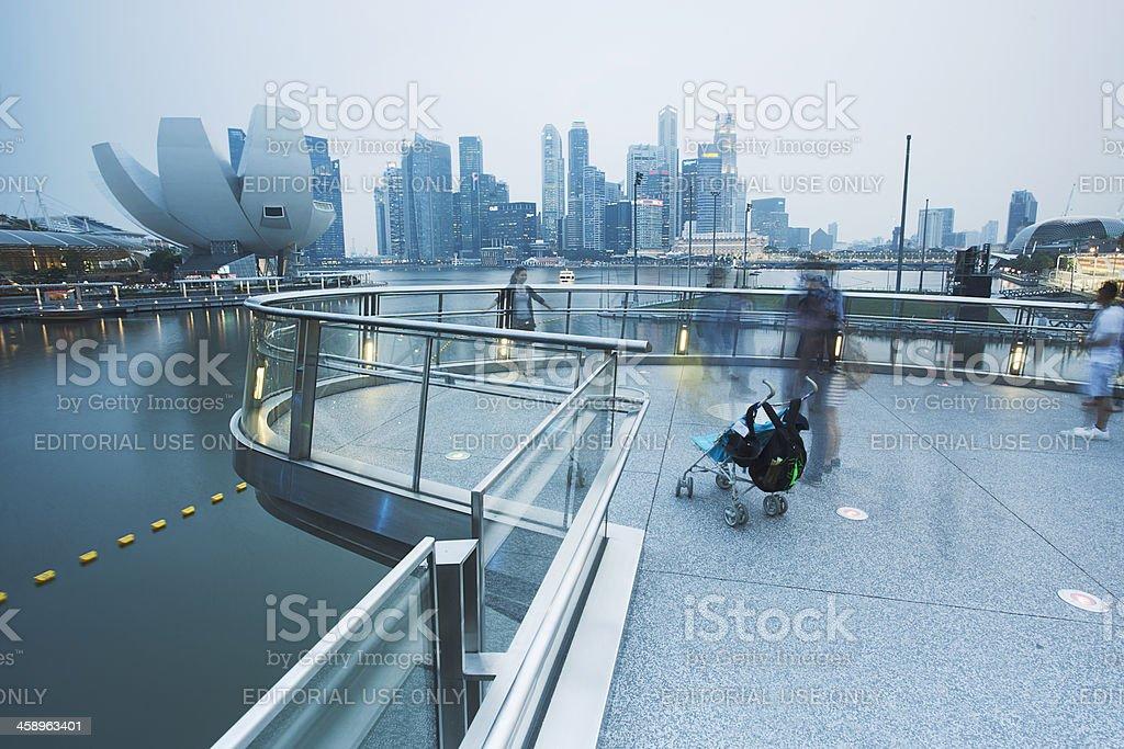 People enjoying view deck at the Helix Bridge. stock photo