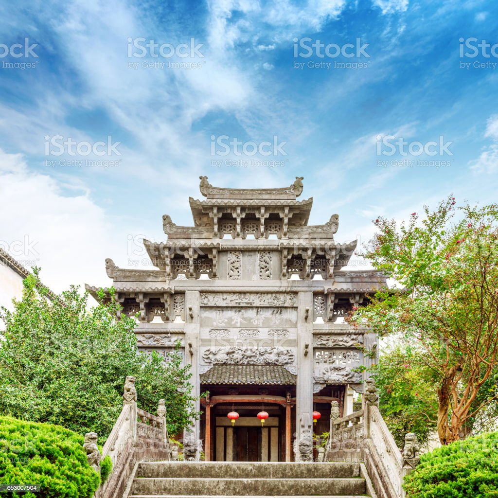 LESHAN, CHINA - March 30, 2016: People entering Leshan Giant Buddha Park, China on March 30, 2016 stock photo