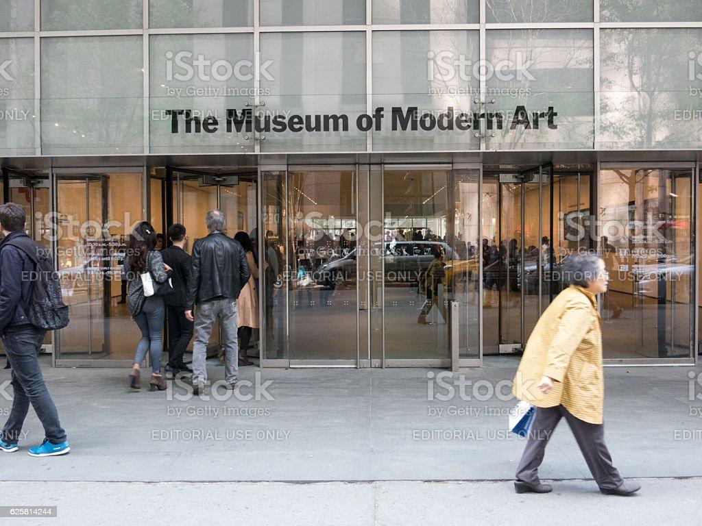 People entering MoMA New York City stock photo