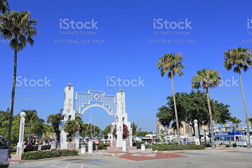 People Entering Sarasota Bayfront stock photo