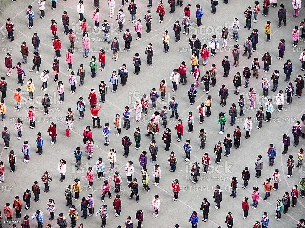 people execute Taiji Quan in the morning stock photo