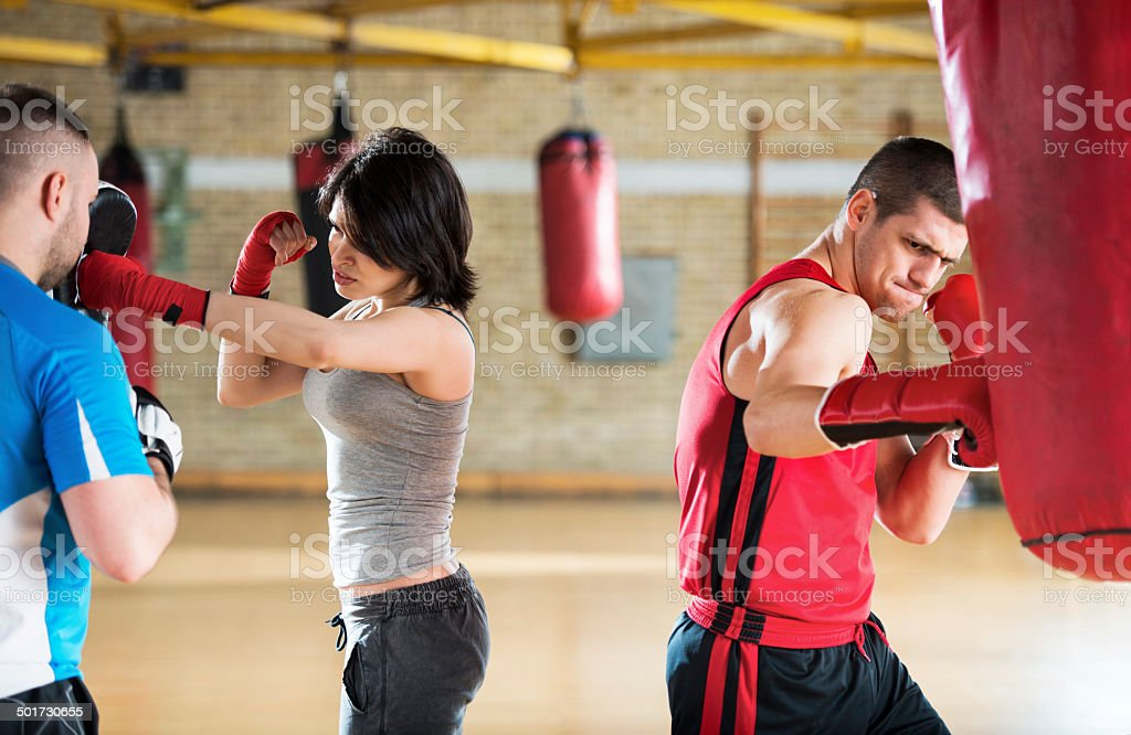 People exercising boxing. stock photo