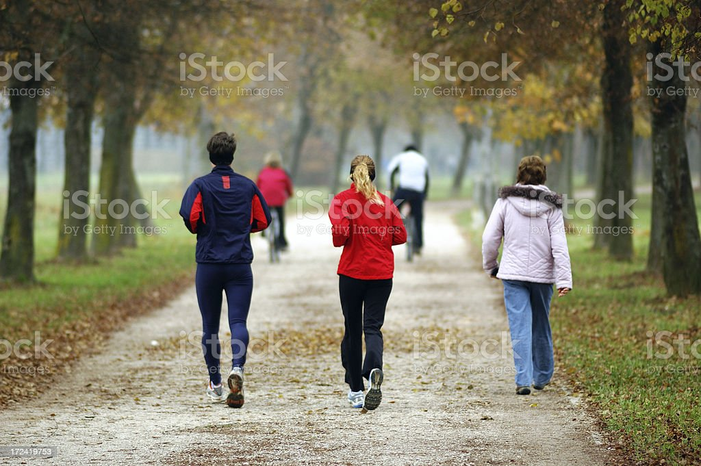 People Exercising in a park stock photo