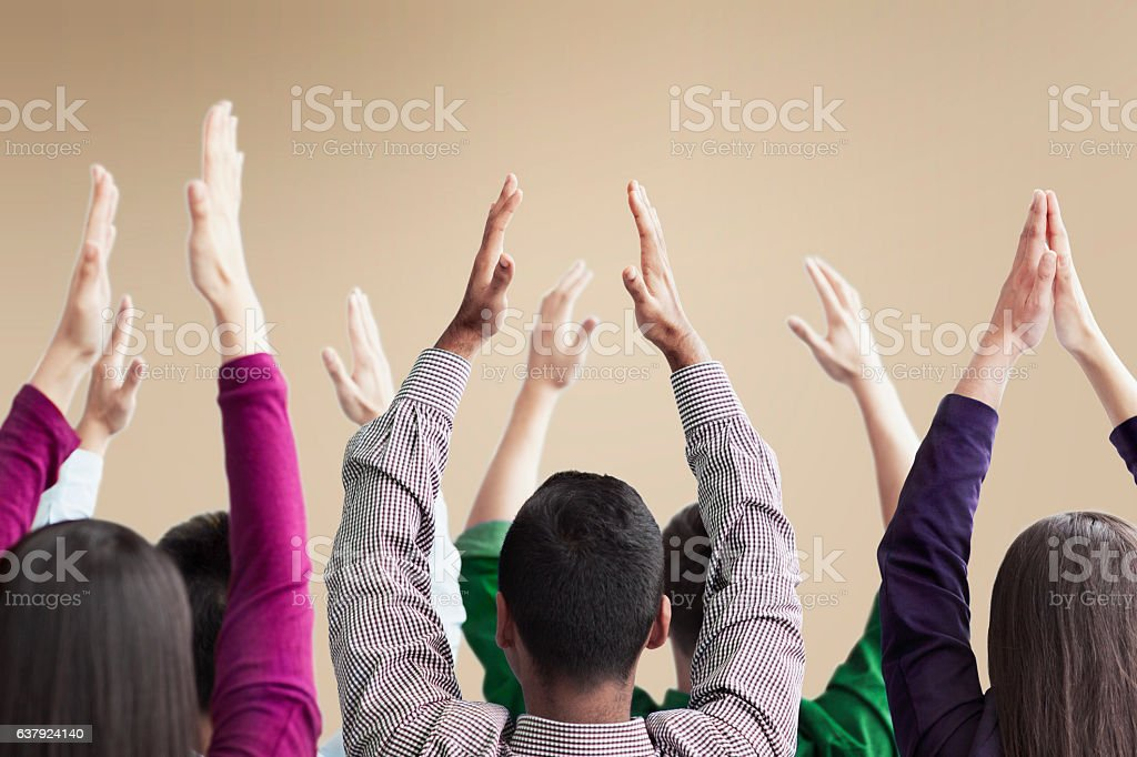 People exercising in group conference meeting stock photo