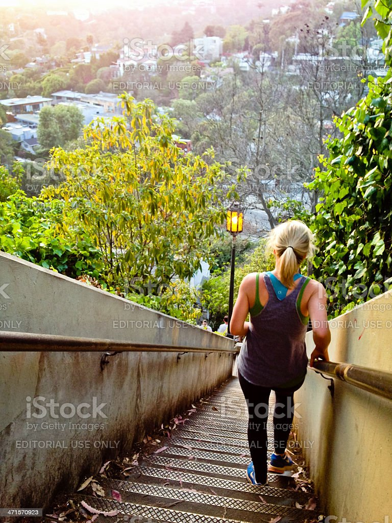 People Exercising on famous Santa Monica Stairs royalty-free stock photo