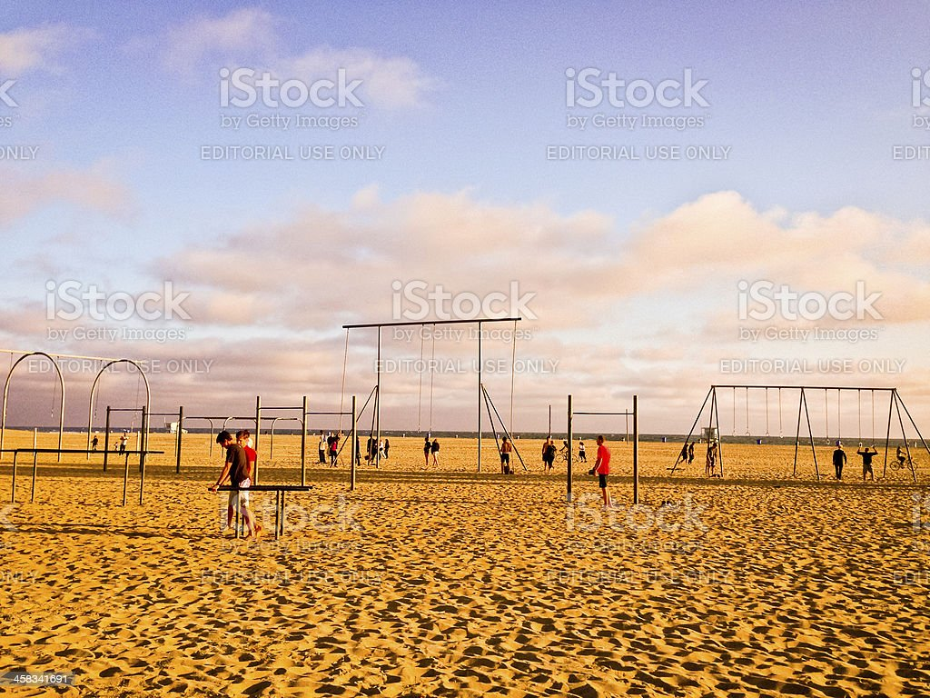 People exercising on Muscle Beach, Santa Monica royalty-free stock photo