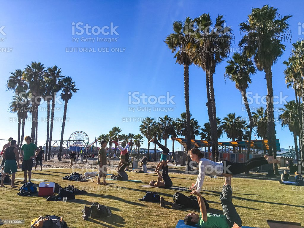 People exercising on Muscle Beach, Santa Monica stock photo