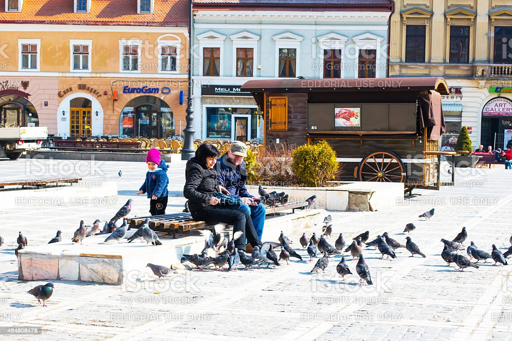 People feeding pigeons at Council Square in Brasov, Romania. stock photo