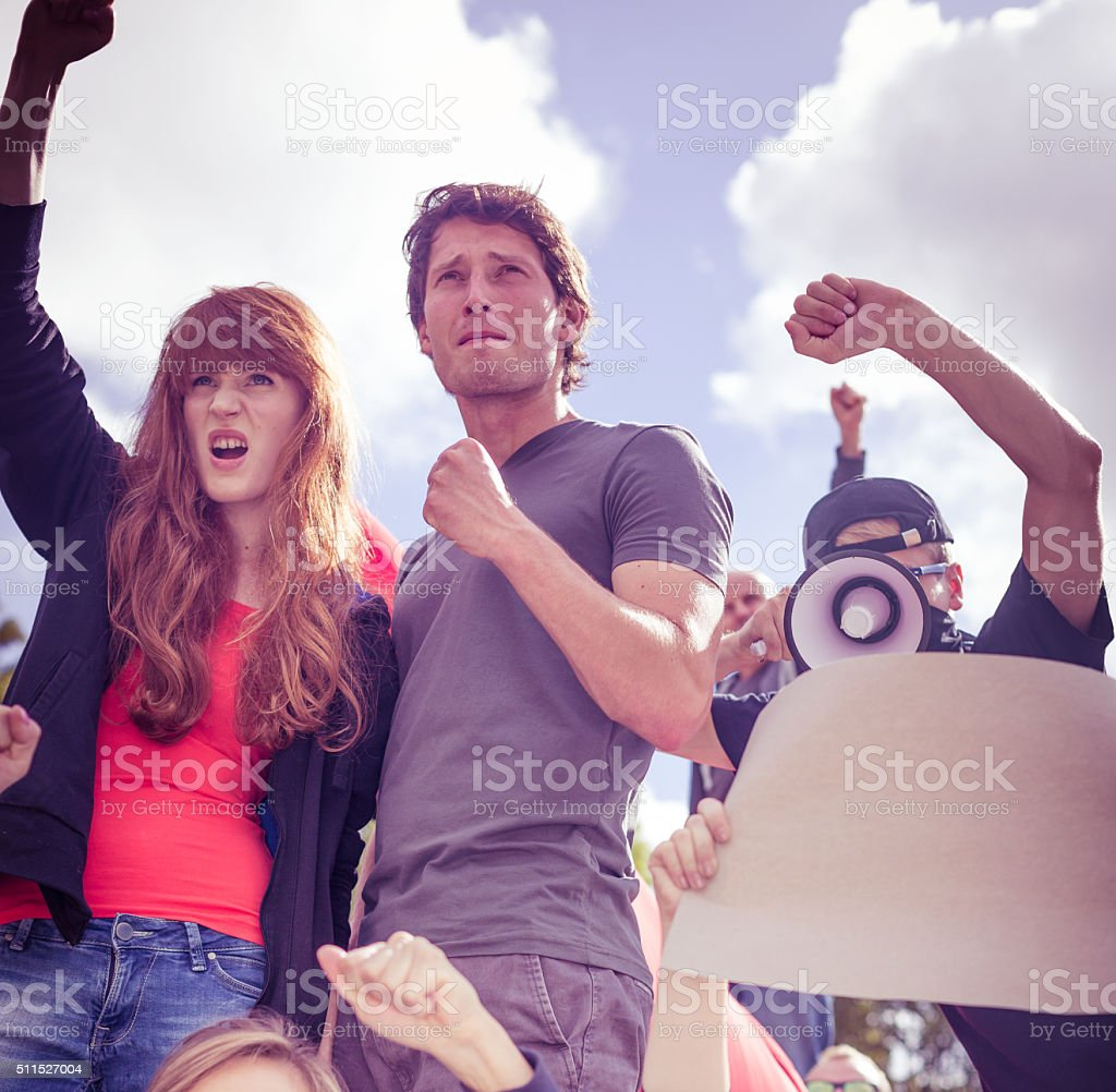 People fighting for human rights stock photo