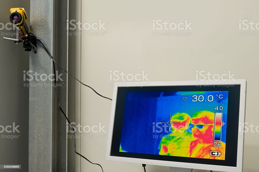 People filmed by an infrared thermal camera stock photo