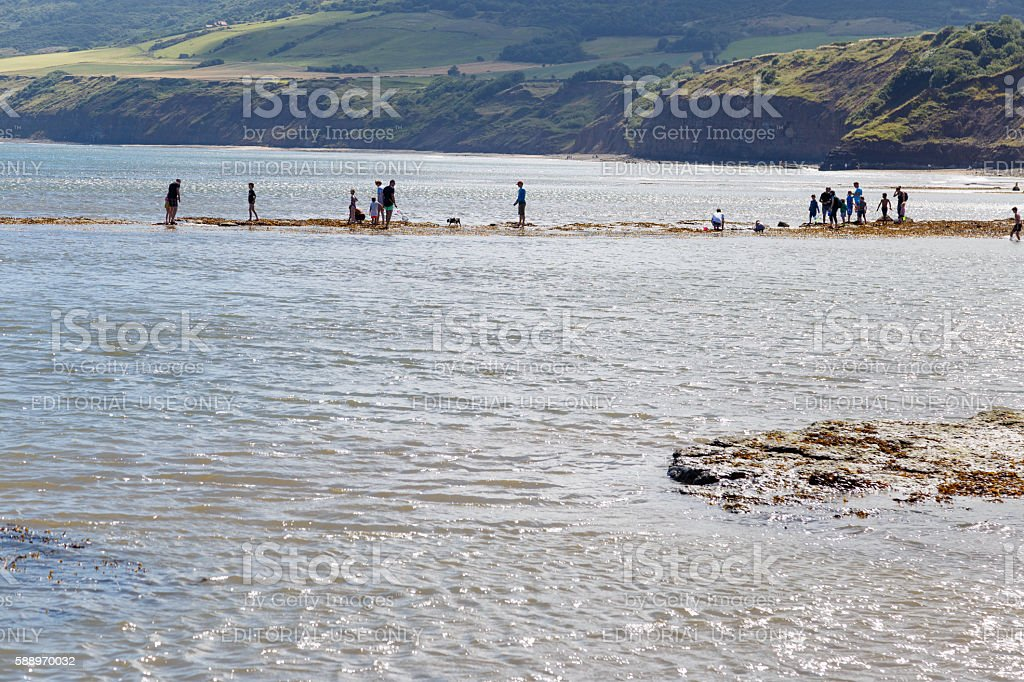 people fishing and crabbing. In Robin Hoods Bay stock photo