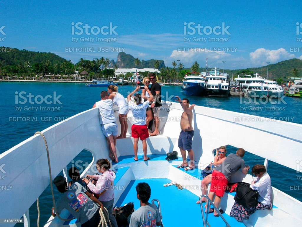 People float to Phi Phi island stock photo