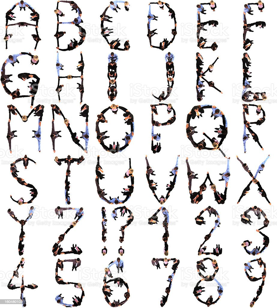 People Form Alphabet And Numbers royalty-free stock photo
