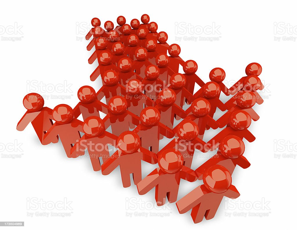 People form up in arrow - isolated royalty-free stock photo