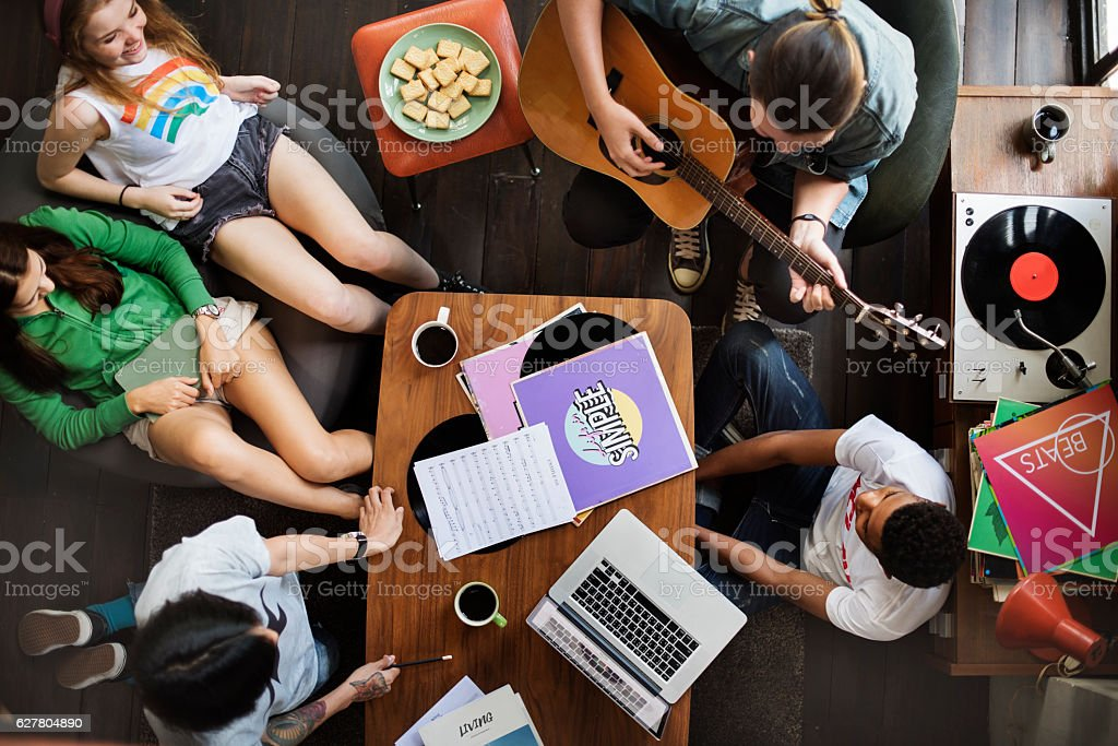 People Friendship Music Talking Entertainment Togetherness Conce stock photo
