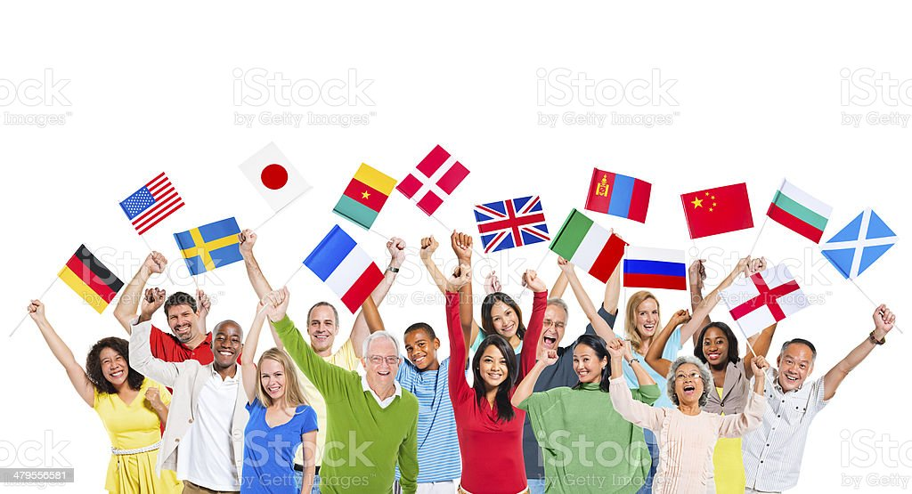 People From Different Countries Holding National Flags stock photo