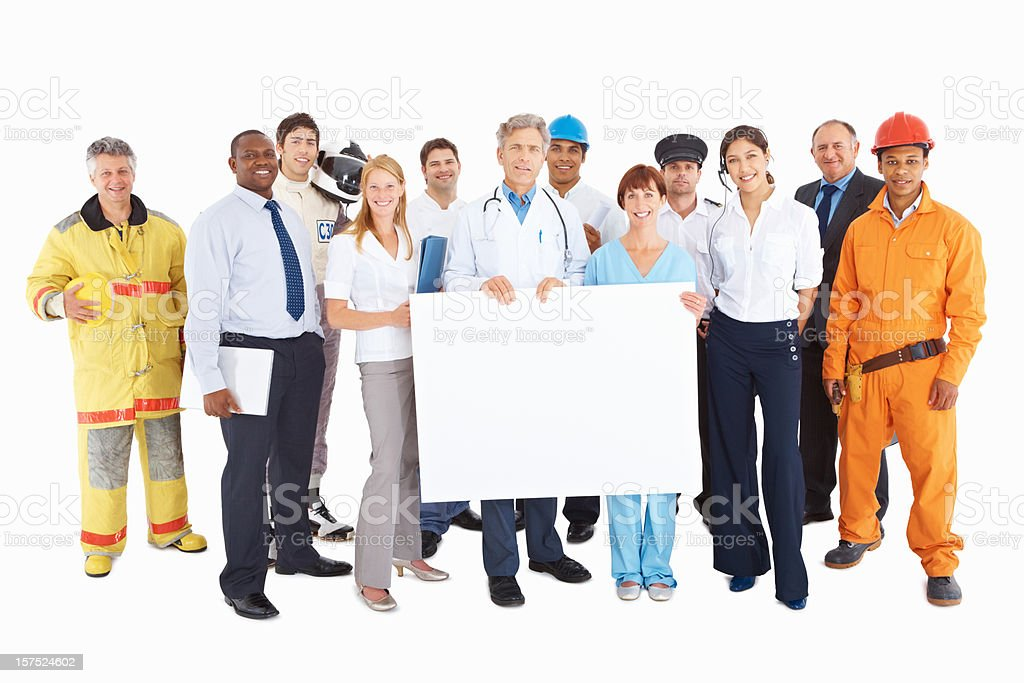 People from respective professions with a billboard royalty-free stock photo