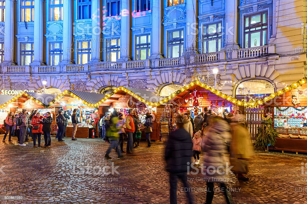 People Gather At The Christmas Market Downtown Bucharest City stock photo