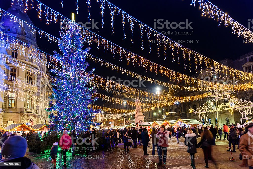 People Gather At The Christmas Market In Downtown Bucharest City stock photo