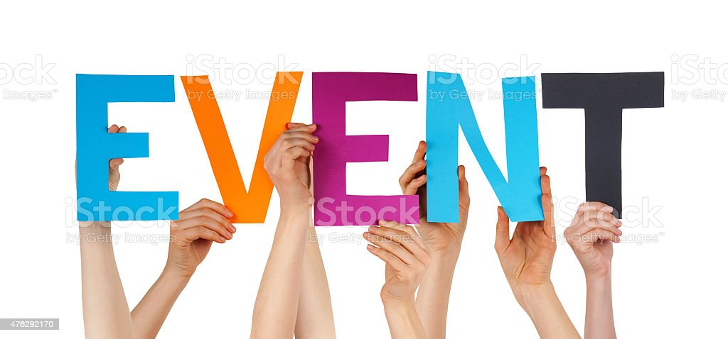 People Hands Holding Colorful Straight Word Event stock photo