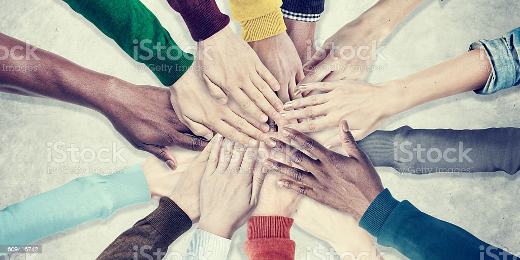 People Hands Together Unity Team Cooperation Concept stock photo