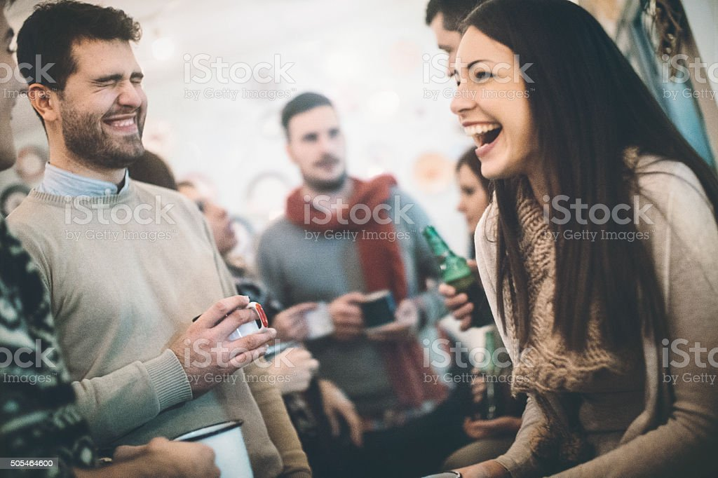 People hanging out at coffee place. stock photo