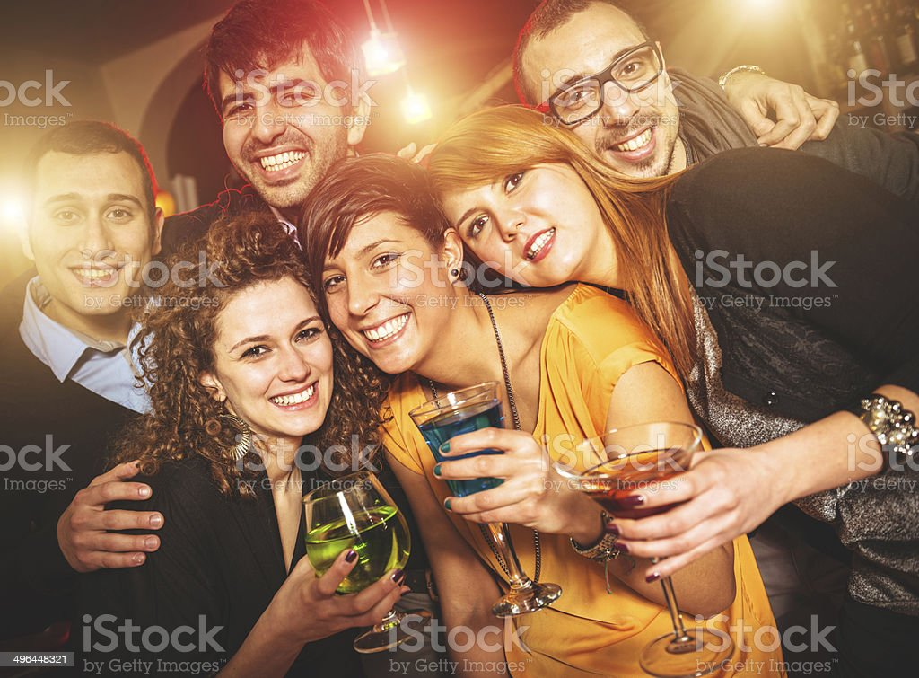 People happiness at the disco club stock photo