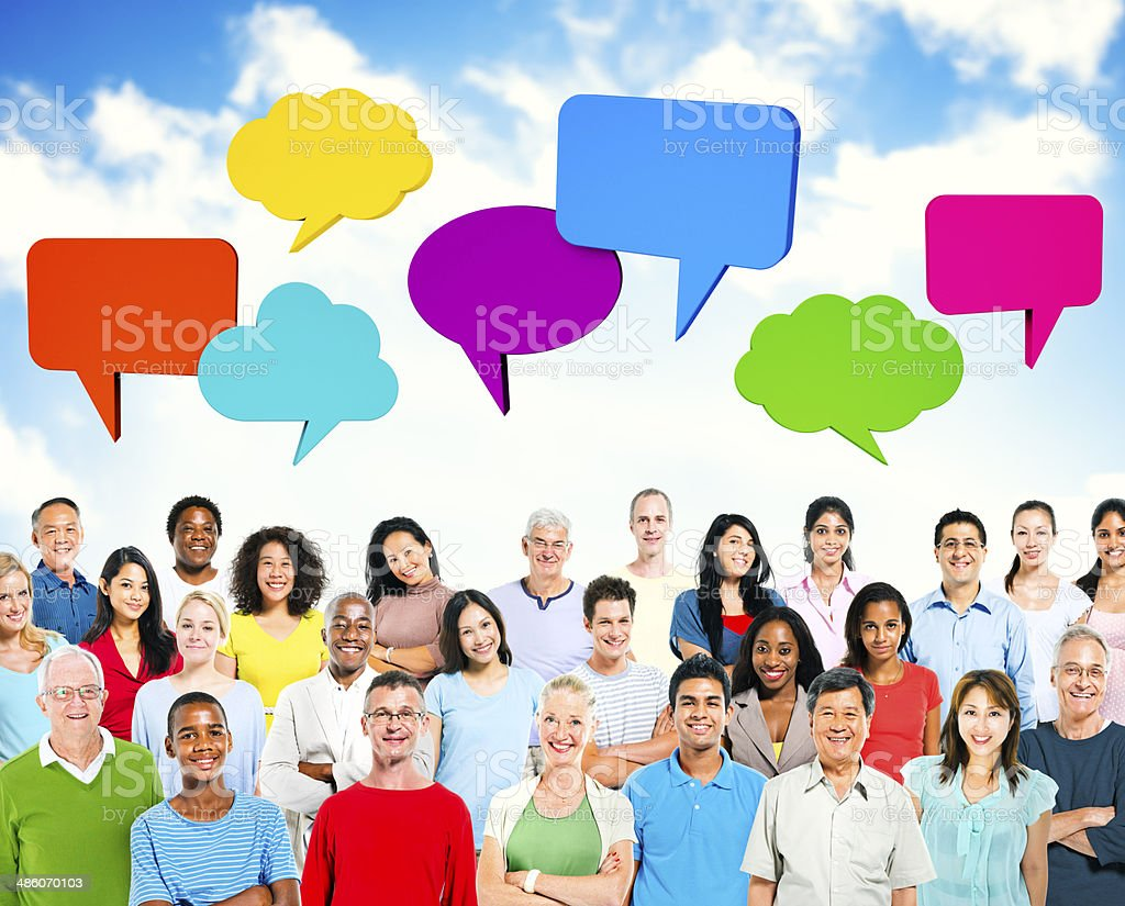 People Happiness With Speech Bubbles stock photo
