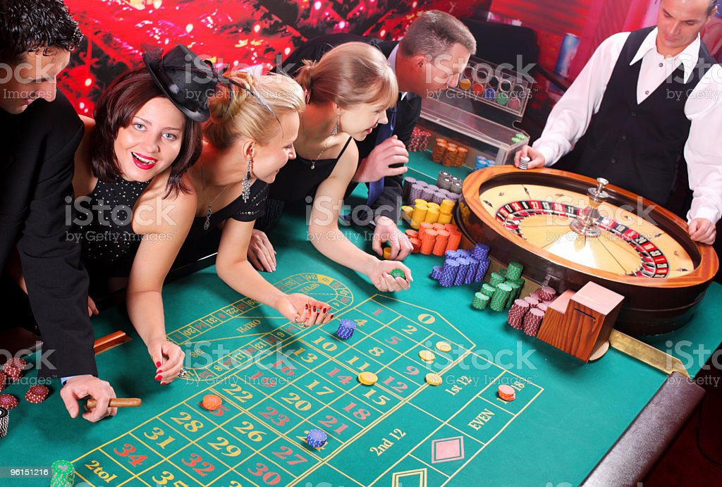 People have a good time in casino. stock photo