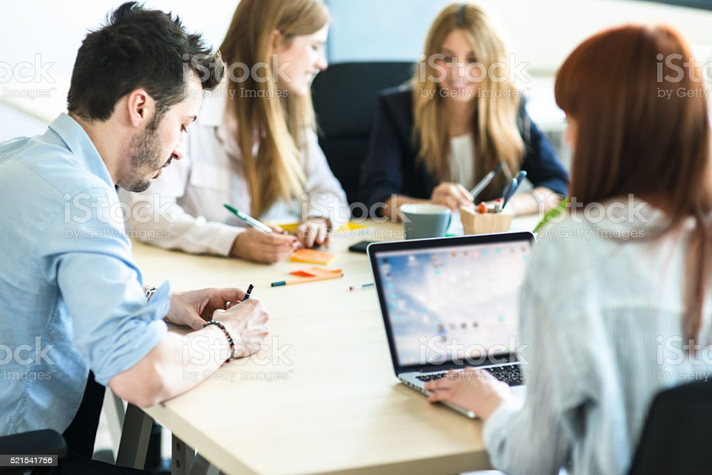 people have fun working in the office stock photo