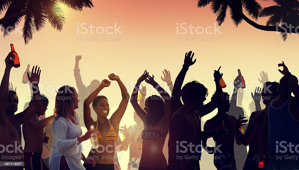 People Having a Party by the Beach stock photo
