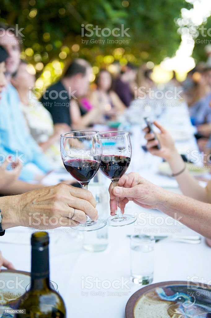 People having a toast at a dinner party outside royalty-free stock photo