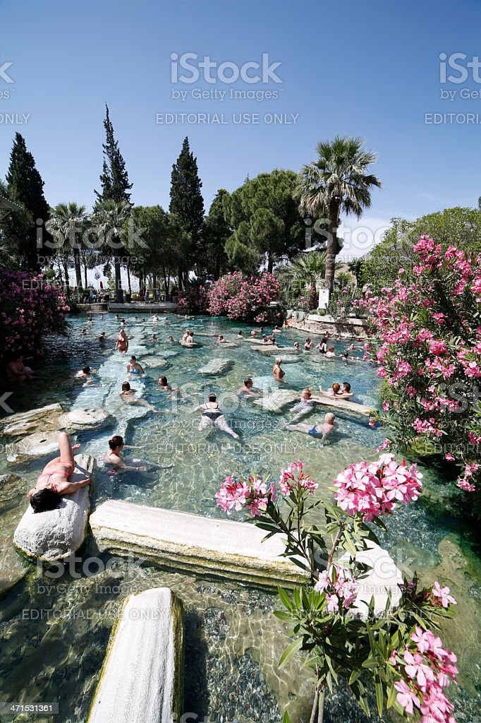 People having bath in Cleopatra's thermal pool of Hierapolis stock photo