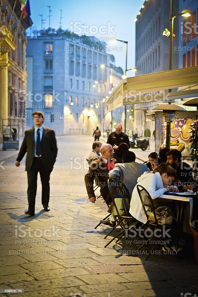 'People having Dinner on Via Brera, Milan, Italy' stock photo