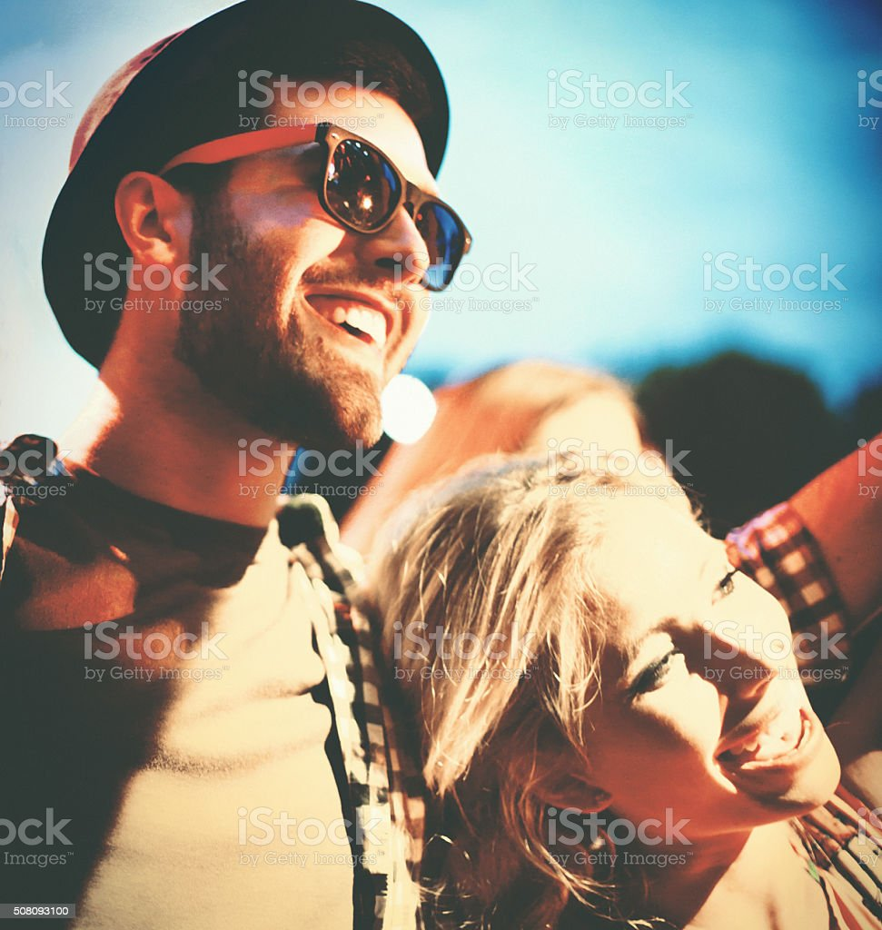 People having fun at concert. stock photo
