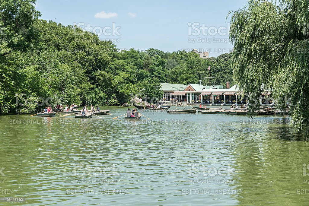 People having rest in Central Park in New York stock photo