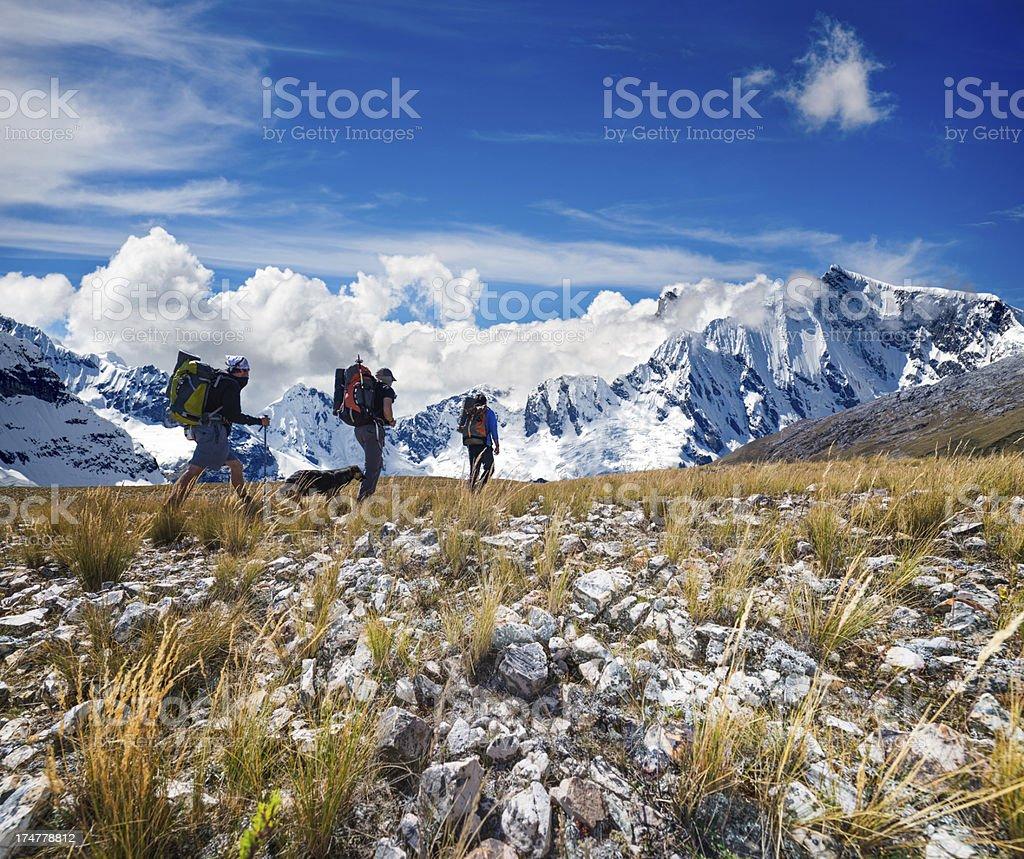 people hiking stock photo