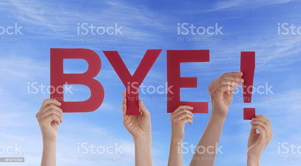 People Holding Bye in the Sky stock photo