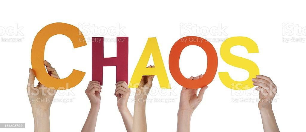 People Holding Chaos stock photo