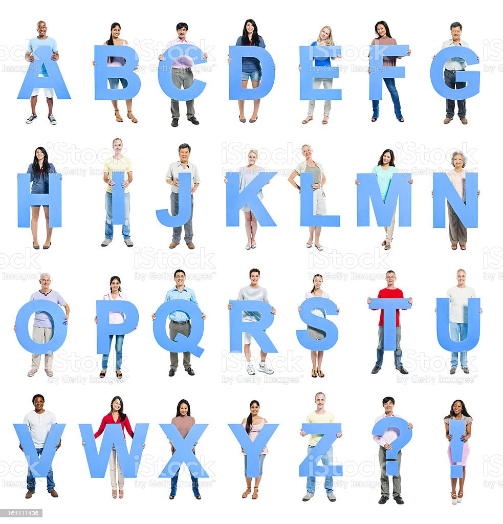 People holding letters stock photo