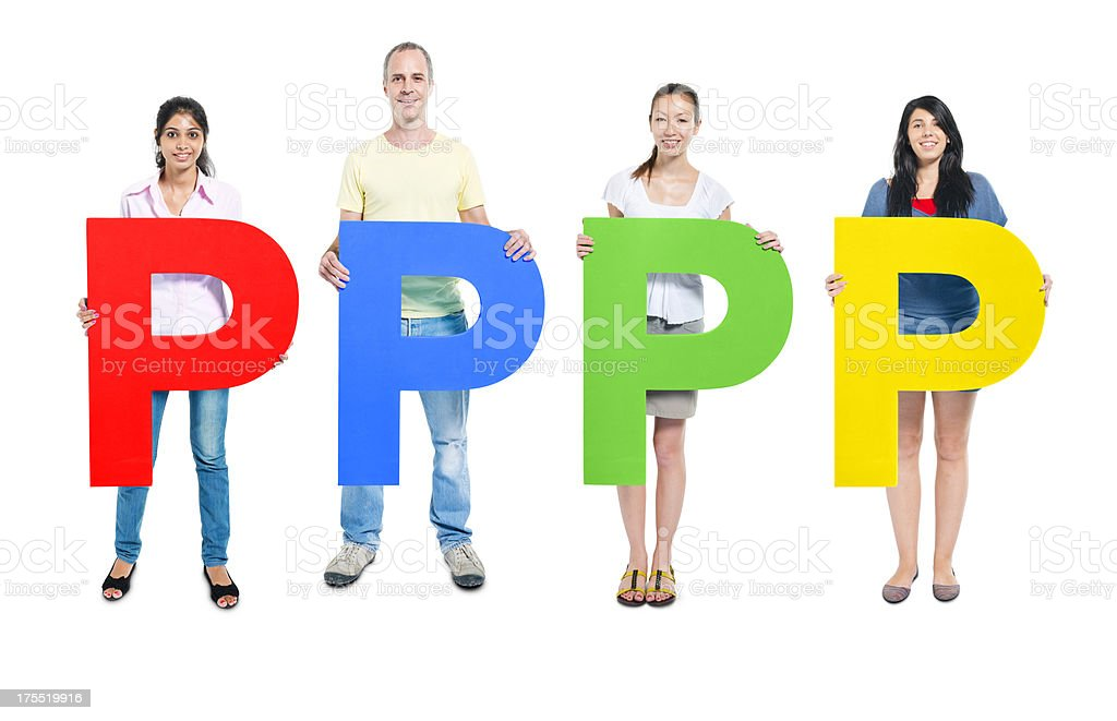 People holding letters royalty-free stock photo