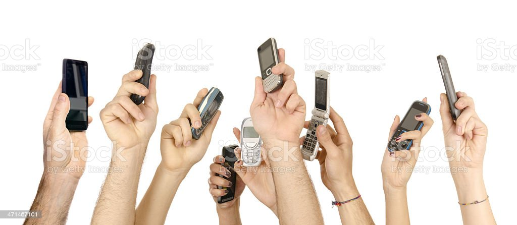 people holding mobile sharing on the net royalty-free stock photo