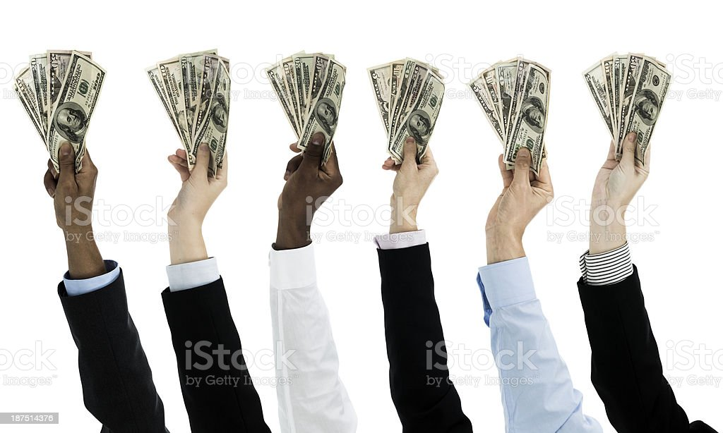 People holding money stock photo