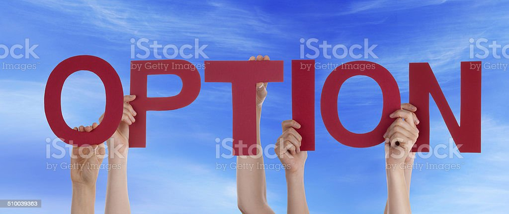 People Holding Option in the Sky stock photo