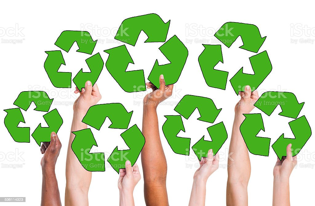 People Holding Recycling Symbol and Concepts stock photo