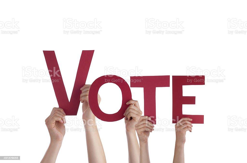 People Holding Vote stock photo